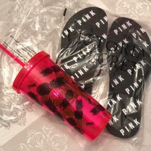New in bags Pink cup & flip flops set sz large 8-9